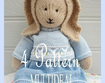 Doll Knitting Pattern Deal/ 4 TEAROOM Dolls and Hats/ Toy