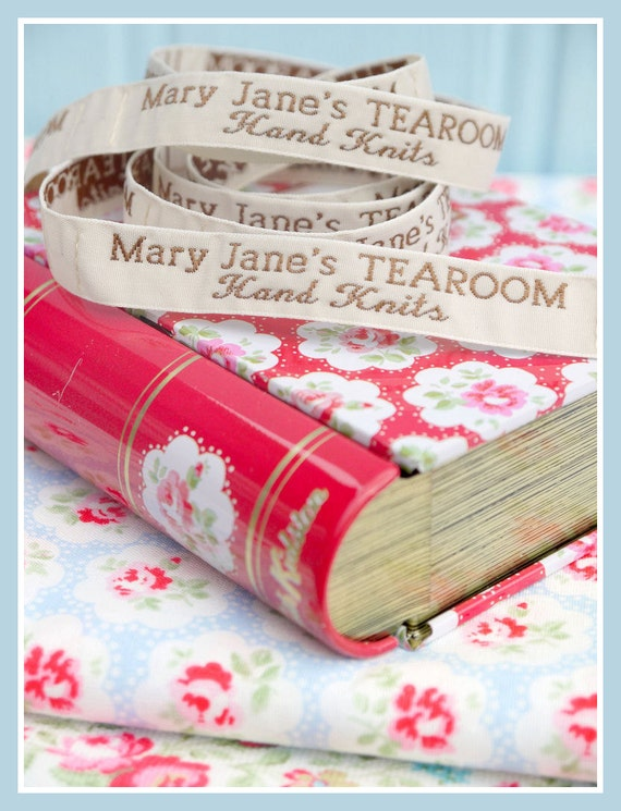 Mary Jane's TEAROOM Woven Labels x 4  / For MJT Hand Knits/ Toy Knitting Patterns