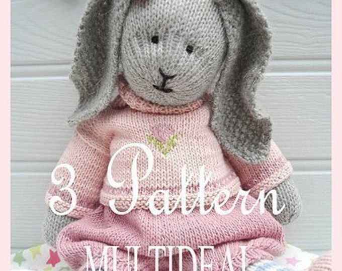 3 Bunny Toy Knitting Patterns Deal/ Girl Bunnies/ PDF Patterns/ Rabbits/ Plus Free 'Handmade Shoes' Knitting Pattern/ INSTANT Download