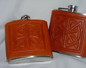 Leather Flask with Celtic knot design/ Buy 2 reduced price
