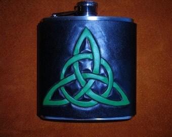Hand carved Triquetra Celtic design leather Flask, drinking vessel
