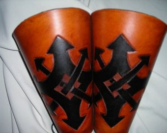 Chaos symbol leather bracers, armor, gauntlets