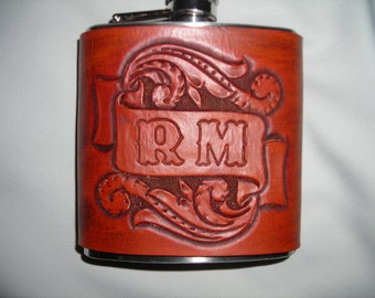 Hand carved and tooled 6 ounce leather  flask