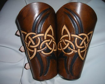 Celtic knot with tribal slash leather bracers, armor, LARP accessory, archery guard