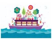 Houseboat 5 x 7 - giclee art print