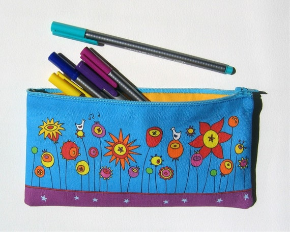 pencil case / zipper pouch - Flower Garden