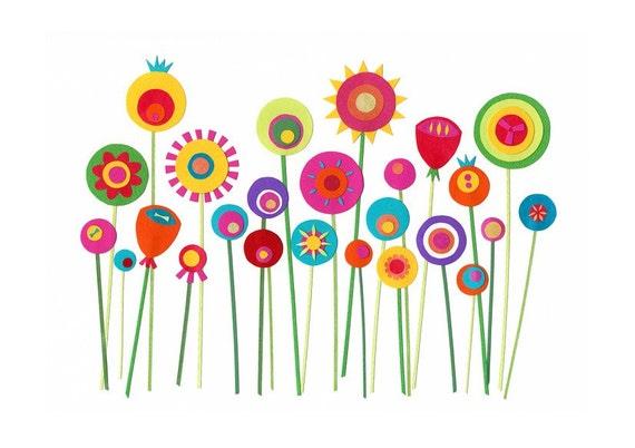 She Grew Paper Flowers 5 x 7 - giclee art print