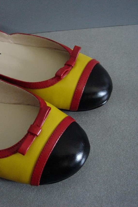 Vintage 80s LEMON Red Bow Dolly Leather Round Toe Flats - Size 7