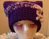 SALE Xanadu Sacque Hat FREE SHIPPING Purple Flower Power Funky Fun Headwear Teen Juniors Misses Womens Fashion