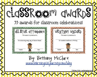 Classroom Awards & Certificates for Primary Students: Stripes