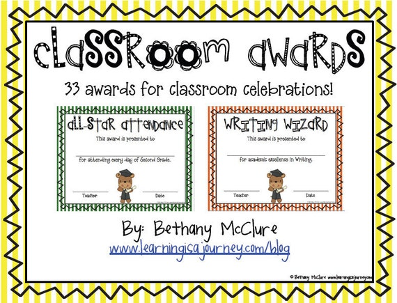 Classroom Awards   Certificates for Primary Students: Stripes