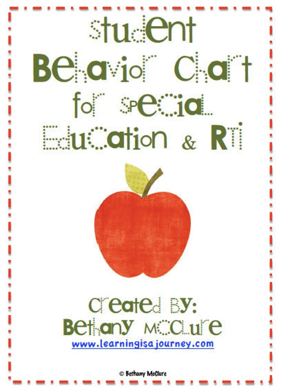 Student Behavior Chart for Special Education & RTI
