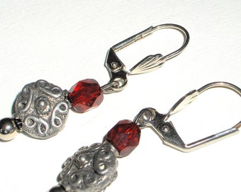 Red drop earrings,Antique silver and red dangle earrings, boho jewelry
