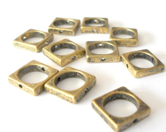 Antique brass connectors, brass square, square brass, geometric brass links, square links, square connectors, 12mm, jewelry supplies, 10 pc