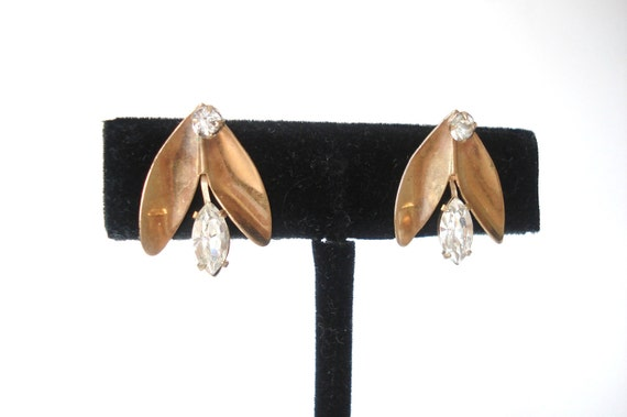 Unique Vintage Abstract Bronze Metal and Clear Rhinestone Screw Back Earrings
