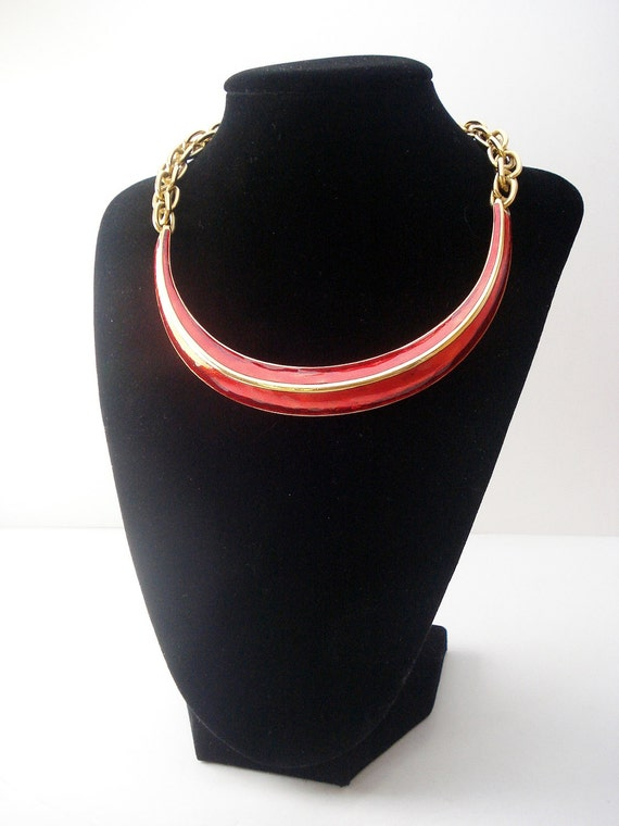 Abstract Red and Gold Tone Choker Statement Necklace