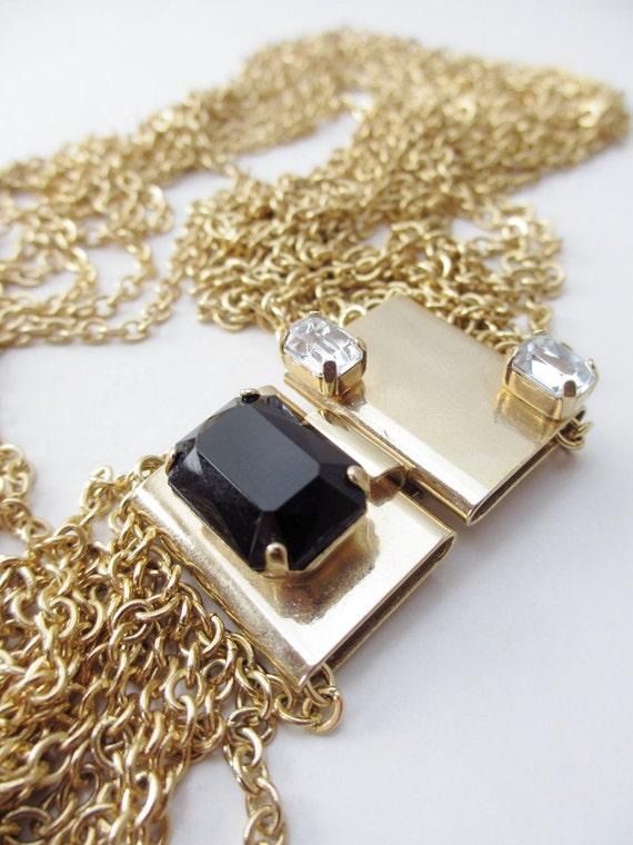 Modernist Gold tone Metal Multi Chain High Waist Rhinestone Belt