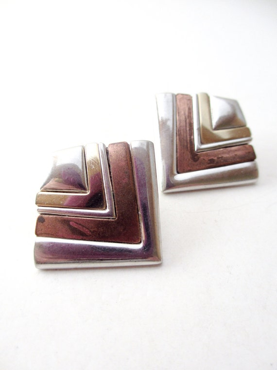 Bergere Silver, Gold and Copper Metal Post Earrings