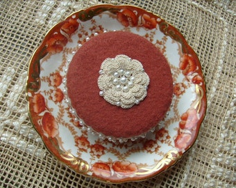 Pincushion, Cinnamon Cake, China Saucer, Pinkeep, Stickpins, Jewelry Display