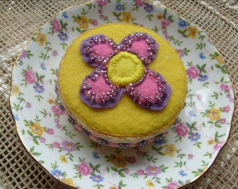 Pincushion, Lemon Cake, Vintage China Saucer, Pinkeep, Hat Pin Holder, Stickpin, Pink and Yellow