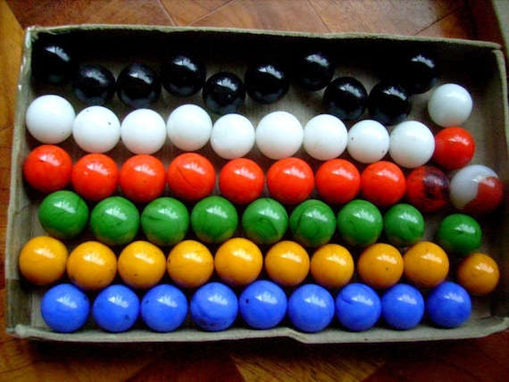 Solid Color Marbles : Vintage chinese checkers marbles solid color by stbthreadworks