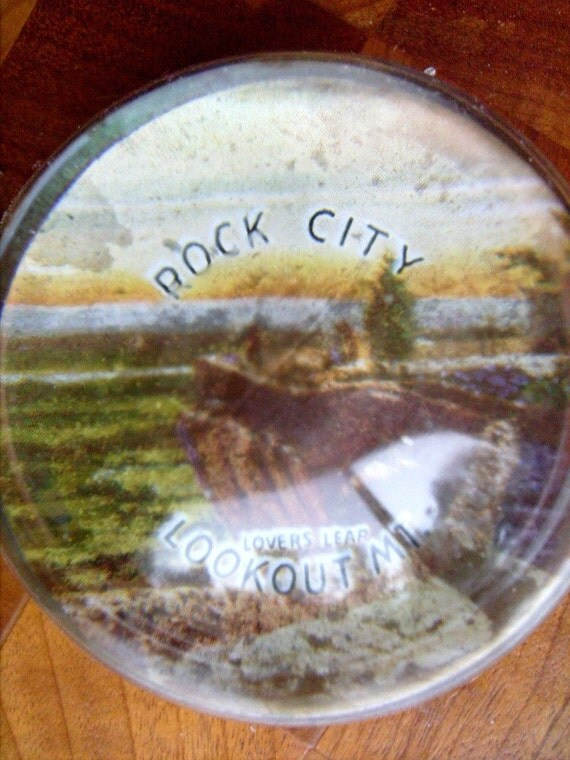 Vintage Rock City Lovers Leap Paperweight Upcycle Art Project