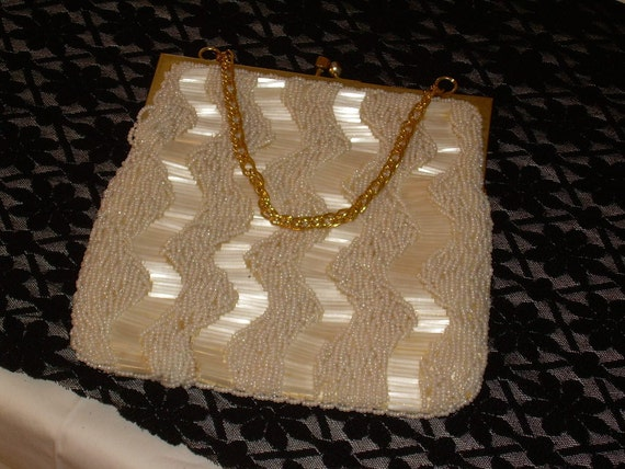 BRIDAL Vintage Beaded Bridal Wedding Bag with Silk Lining. made in Hong Kong
