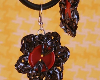 Mix Tape Red Button Flower Earrings - Fancy Recrafting