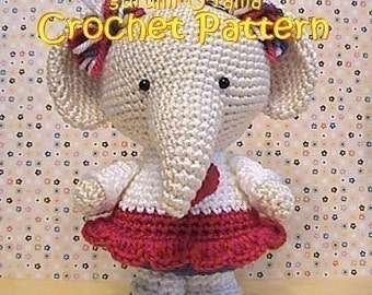 crochet elephant pattern, amigurumi stuffed toy plush elephant tutorial, instant download