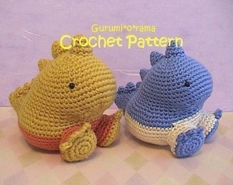 kawaii crochet dinosaur pattern, crochet amigurumi pattern, plush toy stuffed dinosaur tutorial, instant download