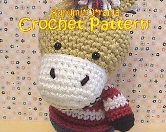 crochet donkey pattern, amigurumi animal plush stuffed toy tutorial, instant download
