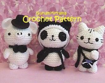 crochet pattern amigurumi piggy panda kitty, kawaii crochet plush stuffed toy piggy panda kitty tutorial, instant download