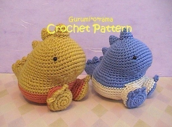 kawaii amigurumi dinosaur pattern, crochet amigurumi pattern, plush toy stuffed dinosaur tutorial, instant download