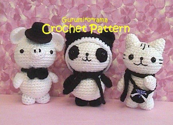 Kawaii Panda Amigurumi : crochet pattern amigurumi piggy panda kitty kawaii crochet
