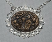 Creepy Cute Gothic Cameo Necklace  -  Ye Olde   Victorian Cemetery Cameo Necklace with Tombstones - Antique Gold Style