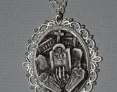 Gothic Valentine Gift  Set 2 - Creepy Open Grave Cameo Ring and Cemetery Cameo Necklace Set