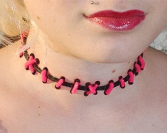 Cute creepy - Frankenstein Monster Glam Stitches Choker-Brite Pink and Black