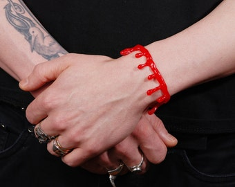Bloody Drip   Bracelet - Bright Red Blood - 2 Pc Set Limited Time