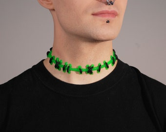 Gothic Frankenstein Zombie Brite Green with Black  Stitches Necklace -wide