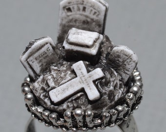 Nightmare Before Christmas   - Creepy Old  Victorian Cemetery Style Ring with Tombstones - Zombie  Vampire