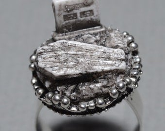 Gothic Ring-  Jewelry - Old  Victorian Cemetery with Tombstone and Coffin  - Zombie  Frankenstein