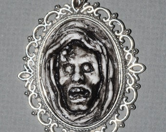 Zombie Jewelry -  The Ghoul - Creepy Gothic Cameo Necklace