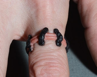 Gothic Stitches Ring 2 Pc Set - Raw Flesh3 Monster Stitches Frankenstein Psychobilly