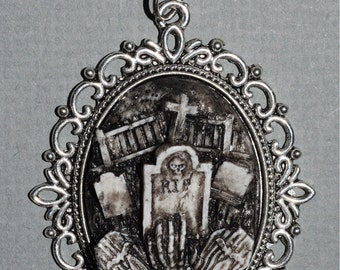 Horror Necklace  - Victorian Cemetery Necklace with Tombstones Caskets and Skeleton Hand- Zombie  Vampire