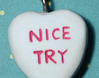 Candy Heart Creepy Cute Anti Valentine   Necklace  - Nice Try- Blue