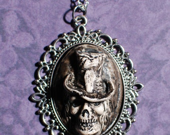 Halloween Jewelry -Skeleton Skull with tophat Cameo   Jewelry - Creepy Cute Gothic Necklace  -Ivory