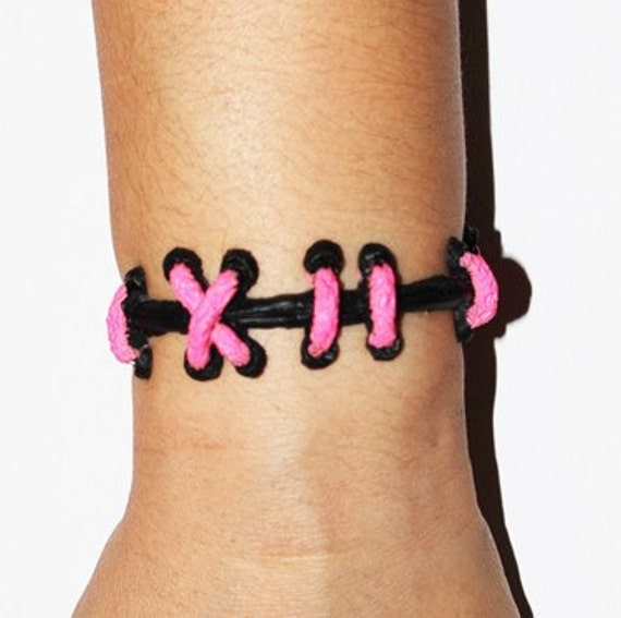 Cute Creepy Monster Zombie Gothic Stitch Bracelets-The Original VonErickson Stitch Bracelet-Pink /black 2PC Set