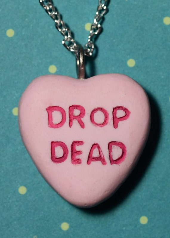 Creepy Cute Valentine Gothic Cameo Necklace  - Drop Dead Candy Heart Pink