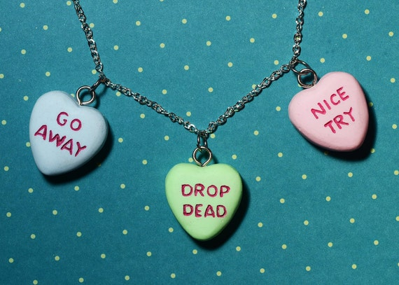 Anti Valentines Day Gift Candy Heart Necklace Triple Heart