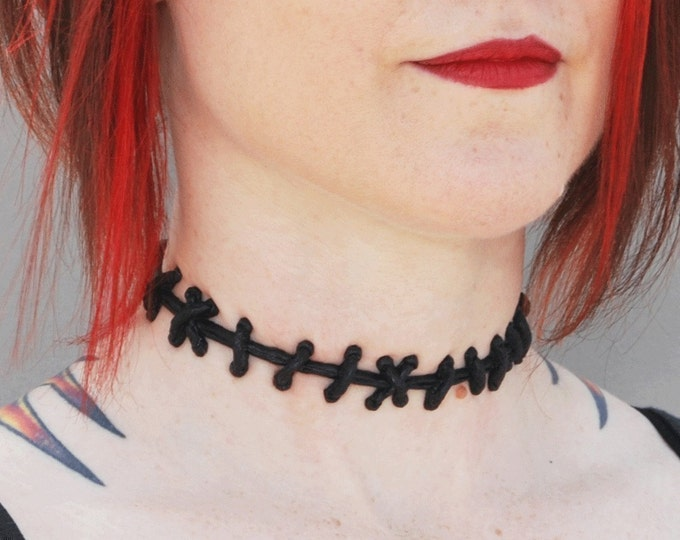 Frankenstein Monster Zombie Stitch Choker-  black